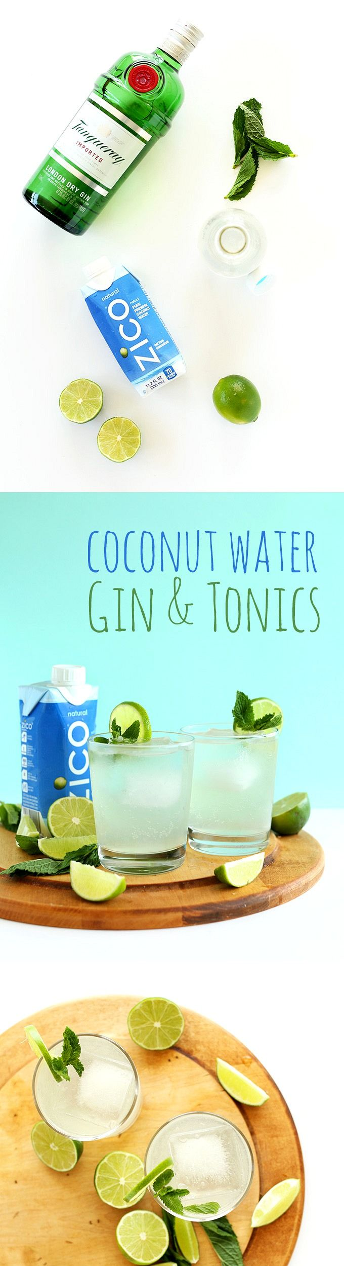 SUPER Refreshing 4-ingredient Coconut GIN & TONICS! Naturally sweetened and perfectly sweet and tart! #CrackLifeOpen