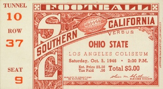 FOOTBALL ART made from an authentic 1946 USC vs. Ohio State football ticket. Terrific Father's Day gift for home or office! Click to see who won this '46 contest.