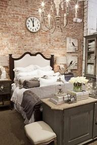 Exposed Brick (Bedroom) - via RealtyQueenTO: Brick Bedrooms, Dreams Bedrooms, Urban Chic, Exposedbrick, Color, Expo Brick Wall, Master Bedrooms, Exposed Brick Wall, Accent Wall