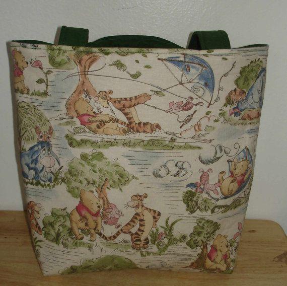 Winnie The Pooh Cotton Tote Bag  Library Bag  by handmadebysam, $30.00