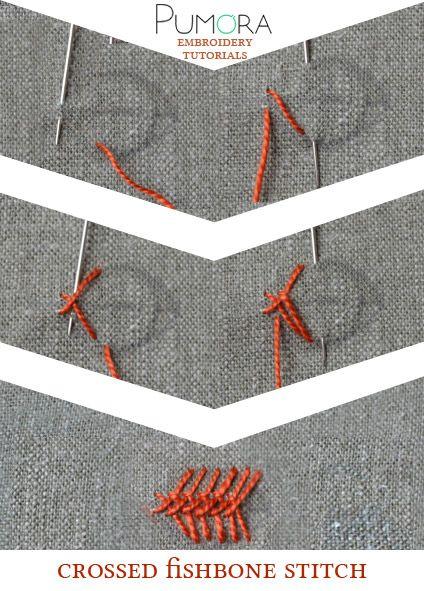 Pumora's embroidery stitch-lexicon: crossed fishbone stitch