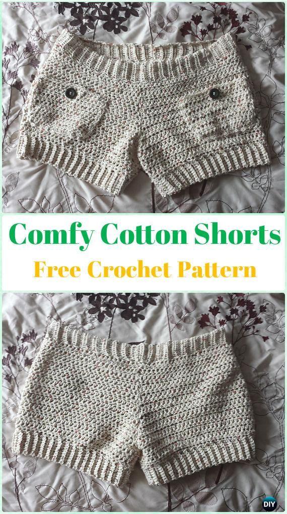 Crochet Comfy Cotton Shorts Free Pattern - Crochet Summer Shorts & Pants Free Patterns