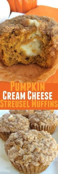 Pumpkin spice muffins with a sweet cheesecake center and topped with a cinnamon streusel.