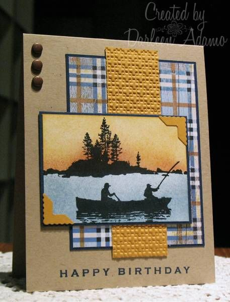 handmade card: Happy 50th Birthday ... beautiful fishing scene focal point ... kraft base card ... plaid paper ... great card!
