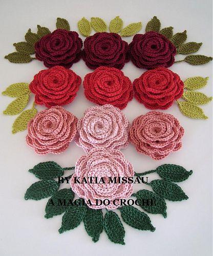 10 rosas e folhas by A magia do crochê, via Flickr