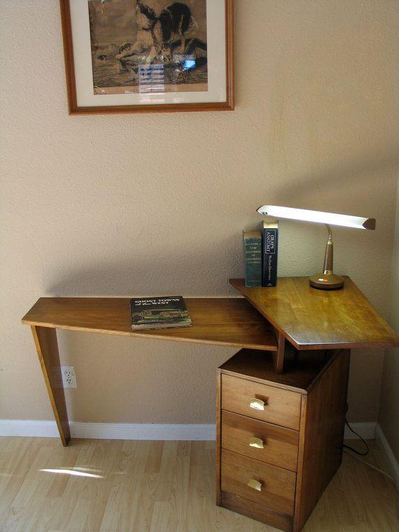 Danish modern mid century teak floating desk atomic studio corner desk eames era decor office - Floating office desk ...