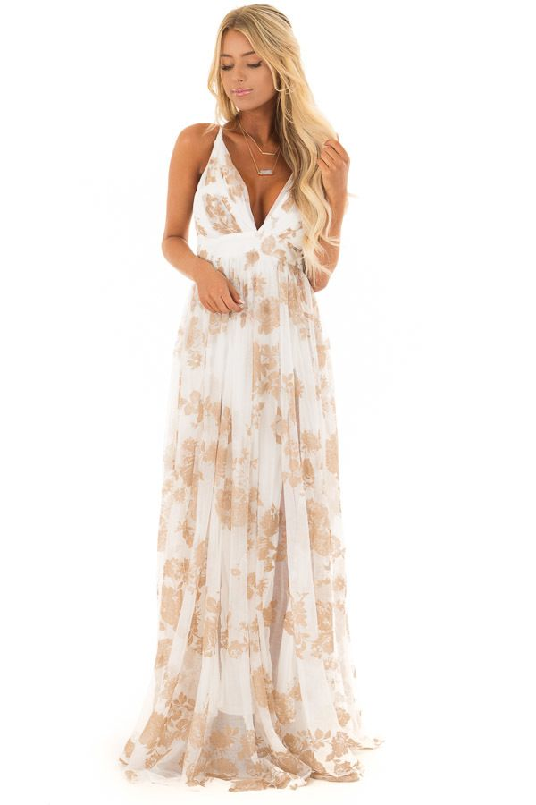 d4ca94d2ff735 Nude and White Flowy Floral Maxi Dress | Fabulous Dresses in 2019 ...