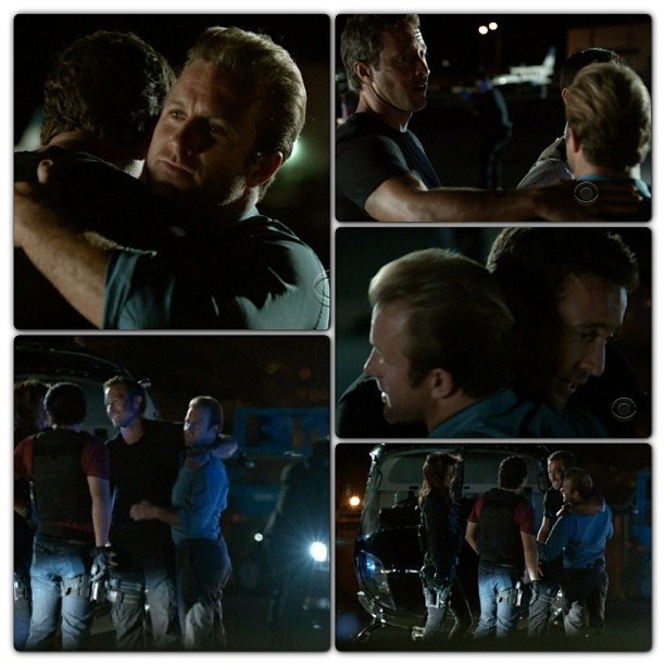 "McDanno Moment #H50 S2E22 ""Ua Hopa"" so cute the way Steve bends down to reach Danny's height when they hug !!!"