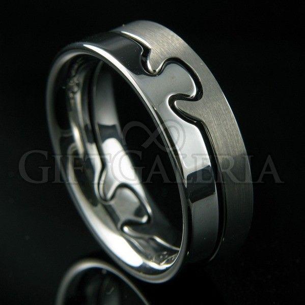 Anel de compromisso separável em tungstênio em Prata Fosco e Polido (cor natural do tungstênio) representando o coração e a alma.