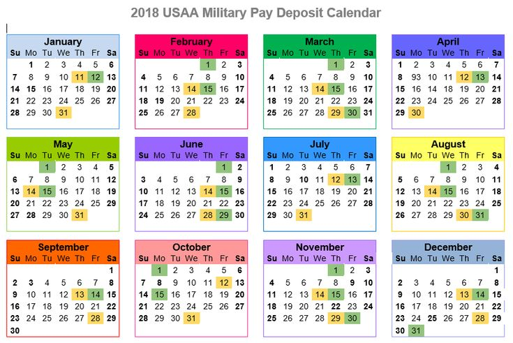 2018 USAA Military Pay Deposit Calendar Color - KateHorrell