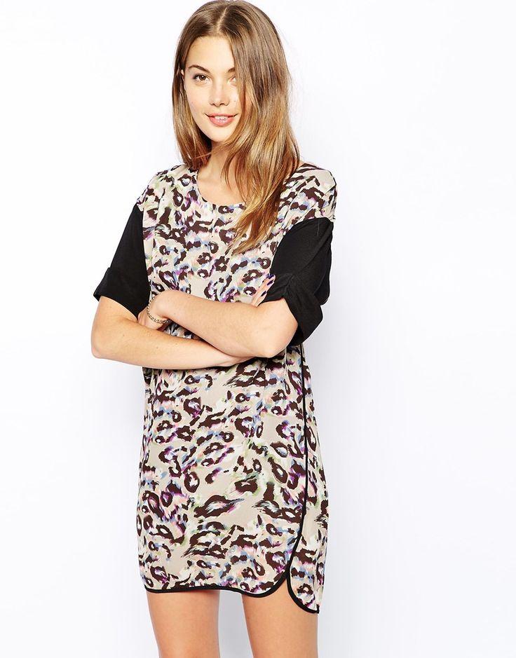 See U Soon - Robe droite imprimé léopard avec ourlet arrondi