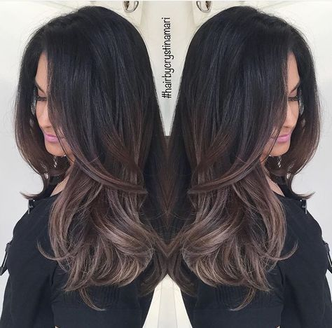 Dark Brown Hair With Ash Brown Balayage Beauty Of Hairs