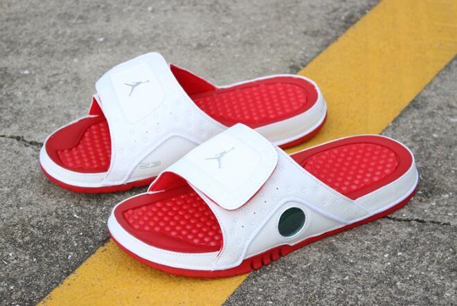 New Air Jordan Hydro 13 Retro White Red Metallic Silver Sandals 684915 121 In 2020 Air Jordans Silver Sandals Jordan Shoes Outlet