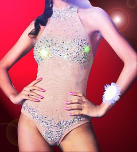Diva Singer Showgirl Burlesque Cabaret Nude Body Suit Dance Dress AB Rhinestone
