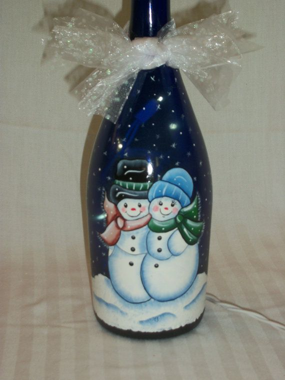 Mr and Mrs Snowman Hand Painted Bottle Light by BamaLadyCrafts