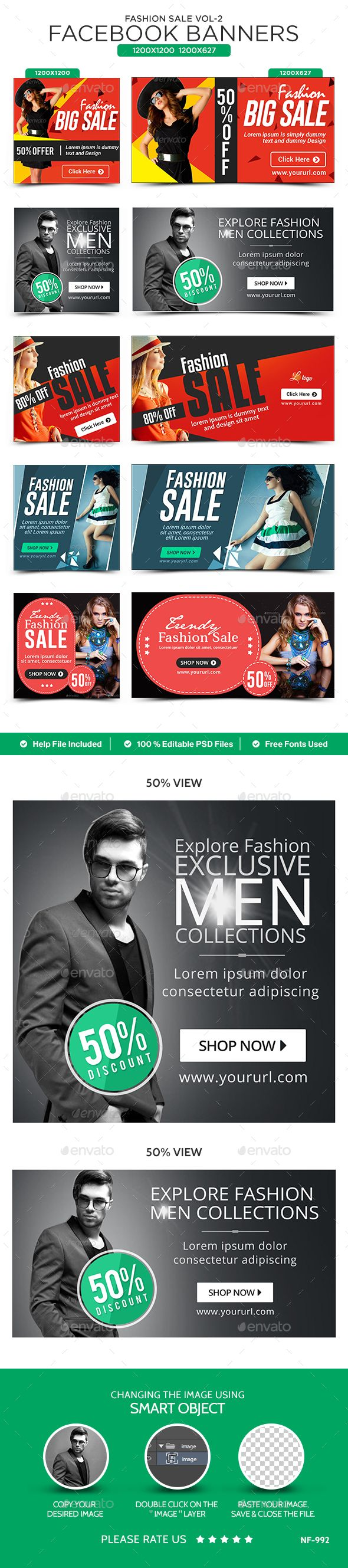 Fashion Sale Facebook Banners  5 Designs  2 Sizes Each — Photoshop PSD #animated banner #fashion • Available here → https://graphicriver.net/item/fashion-sale-facebook-banners-5-designs-2-sizes-each/14473332?ref=pxcr