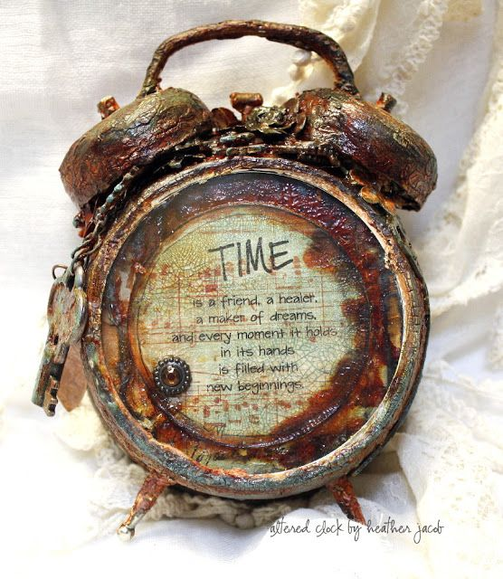 Heather Jacob as art and life making an Altered Rustic Clock for TH/Ranger products; Sept 2013