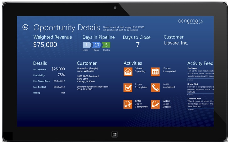 Sonoma Partners EZ Opp app for Windows 8 and Microsoft Dynamics CRM