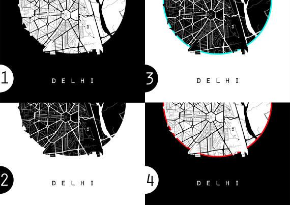 Delhi Map New Delhi Map India Map Atlas Maps Black And