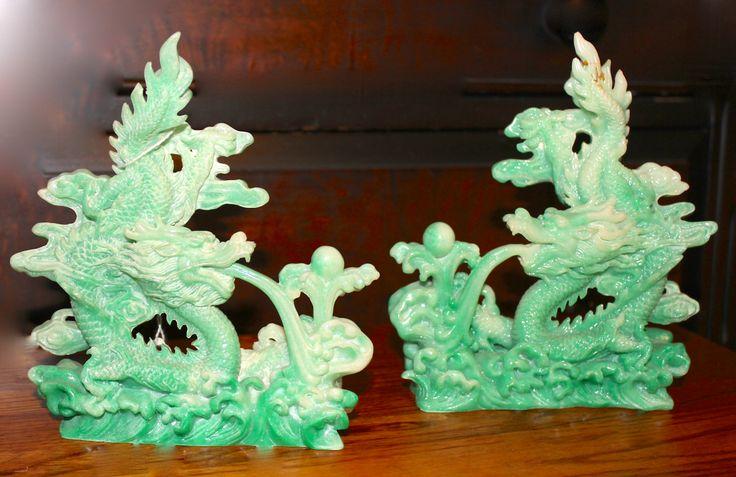 A pair of Jade Dragons  # O-6367     $29.97