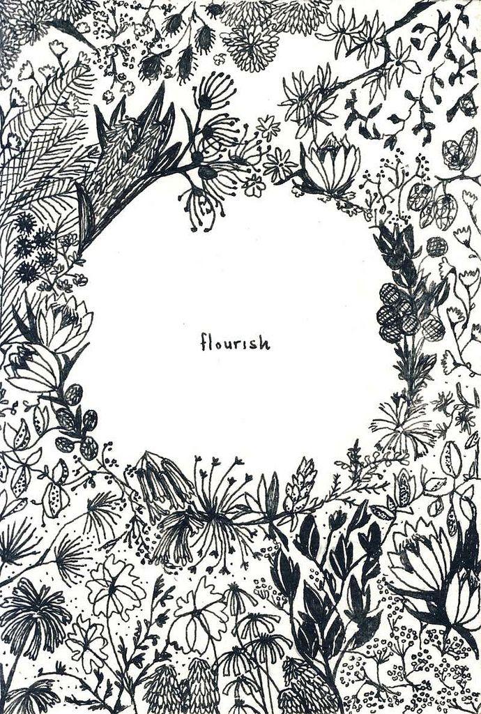 植物の手書きイラスト。 フレームになっていて、真ん中に短いワードを入れるときによさげ。