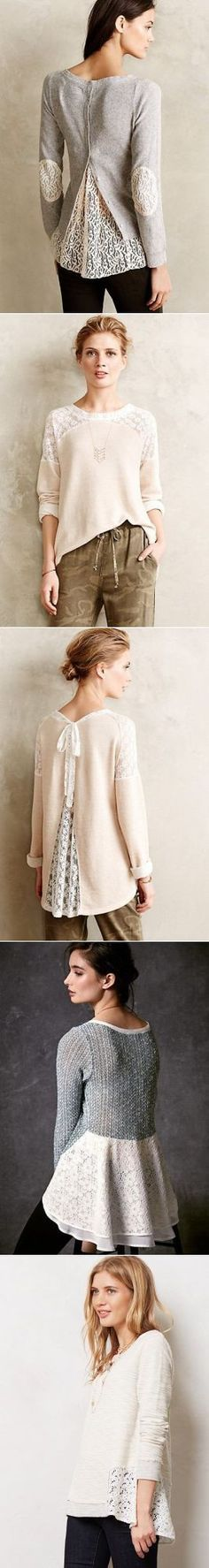 ❤ Love these lace upcycled sweaters! Great inspirations. Свитер кружево