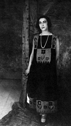 Sonia Delaunay in a dress of her own design.