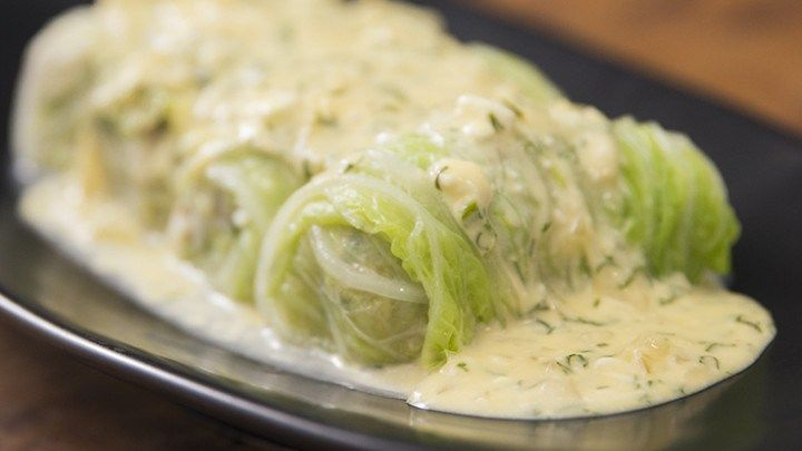 Cabbage Leaf Dolmades with Feta Sauce