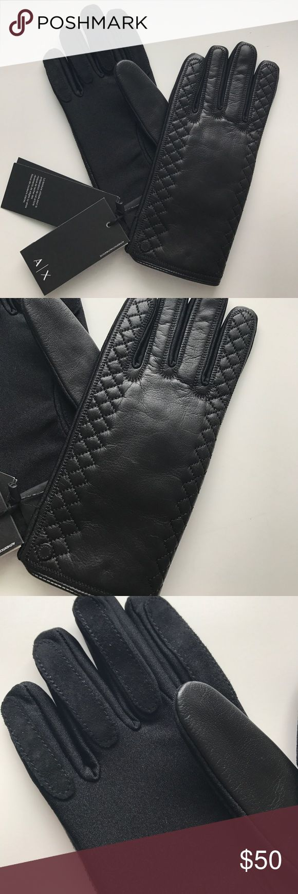 Armani exchange black leather gloves - Women S Armani Exchange Black Leather Gloves Brand New With Tags Armani Exchange Black Leather Gloves