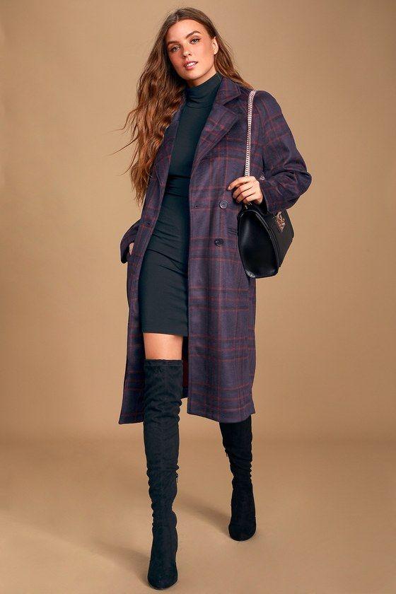 Lulus | Karalissa Dark Purple Plaid Coat | Size Large | 100% Polyester
