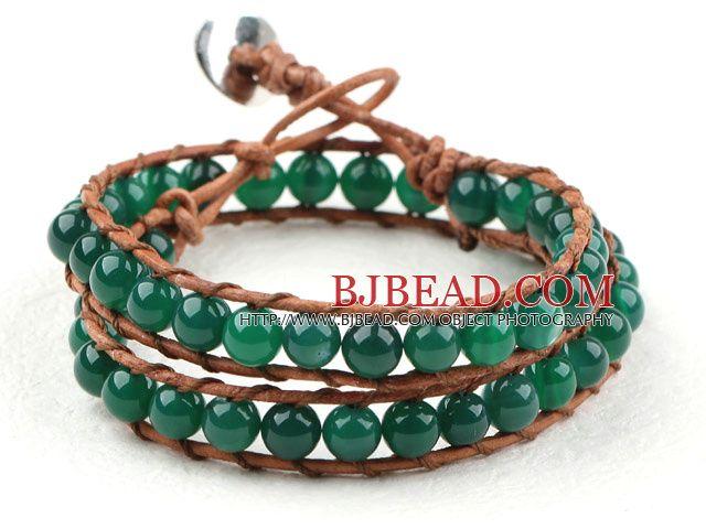 Twee Rijen Ronde Groene Agaat kralen geweven Wrap Bangle Armband met metalen sluiting