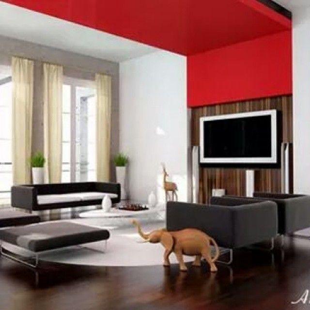#interesante #ambiente #familiar donde destaca el color rojo y el diseño de techos y #mobiliario. Ve mas #ideas para #remodelar en: arquitecturacreativa.blogspot.com Siguenos también...
