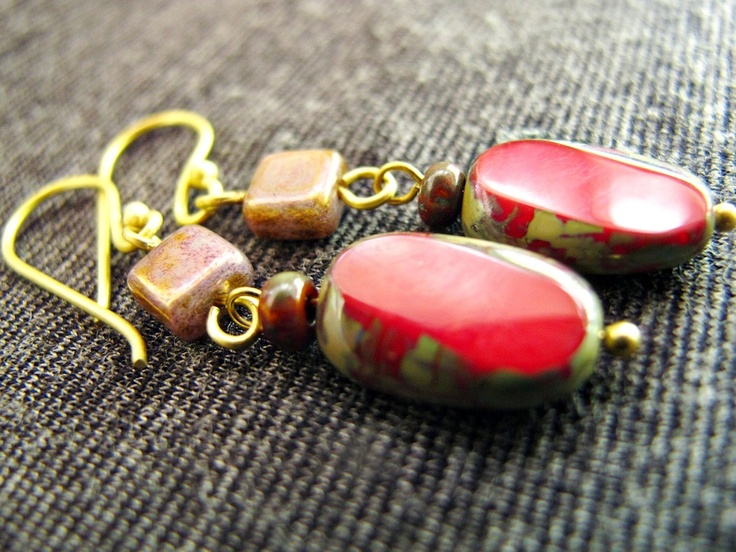 The Vintage Joy: Vintage Summer Collection 2012.  Handmade vintage style earrings with czech glass beads in vintage brass tone.  Find her at: http://nutsiya.etsy.com