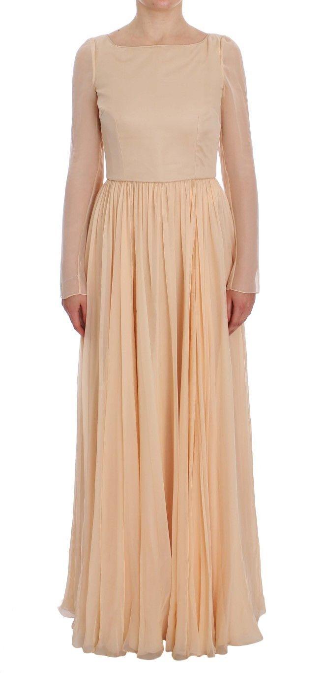 Beige Silk Ball Gown Full Length Dress