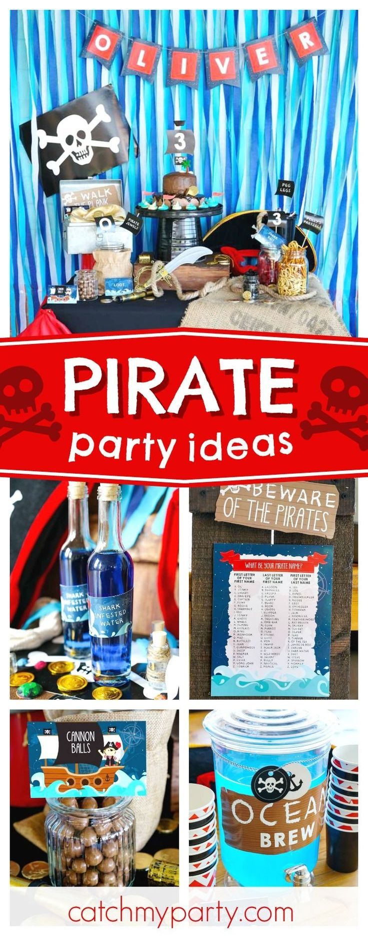 Aye Aye Captain! Check out this awesome pirate themed birthday party! The bottles of 'shark infested water' are so cool!! See more party ideas and share yours at CatchMyParty.com #catchmyparty #partyideas #pirate