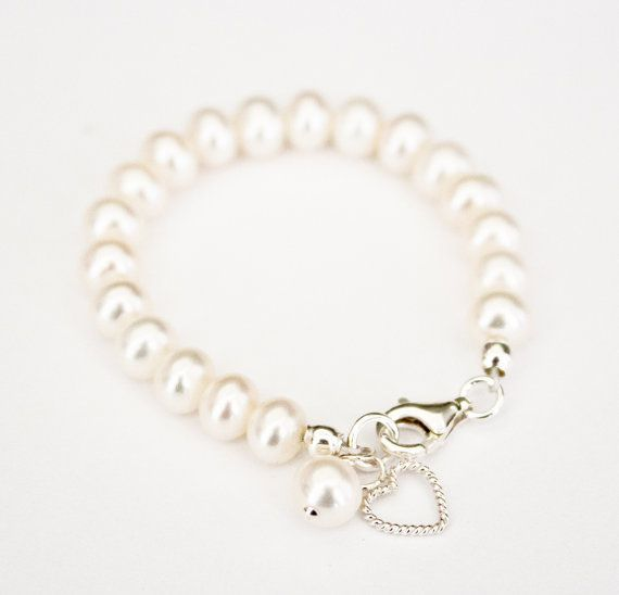 Gorgeous baby girl freshwater pearl bracelet with a sterling silver heart charm.  Etsy  Pinkandblushop