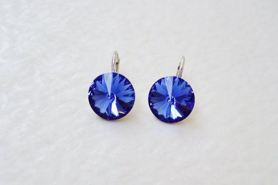 Dark royal blue Sterling silver Swarovski Crystal by DreamyBox