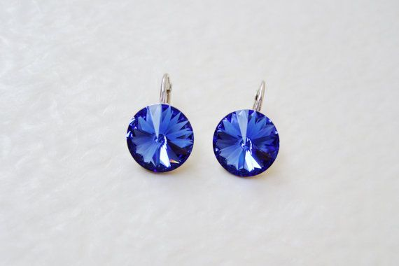 Dark royal blue Sterling silver Swarovski Crystal by DreamyBox