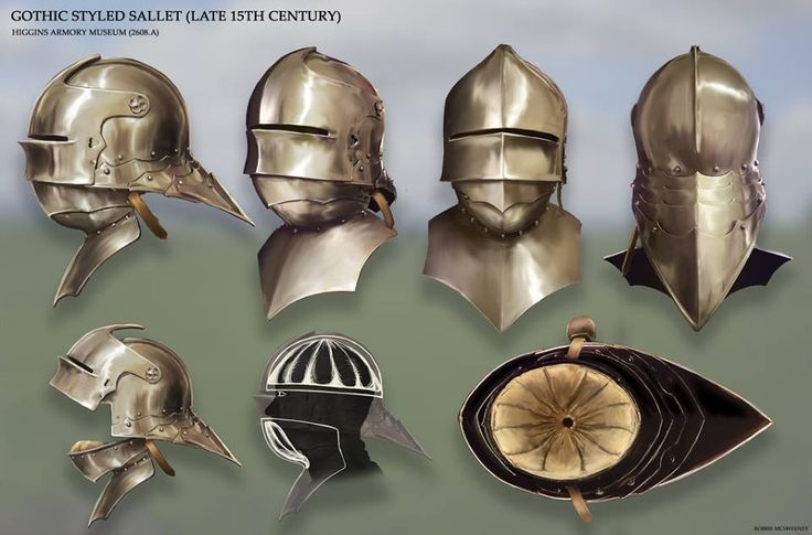 Gothic style Sallet helmet , late 15th Century, Higins Armory Museum