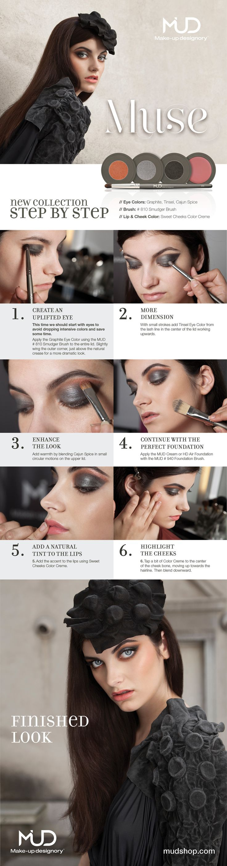 MUD Cosmetics MUSE How-to Make-up Tutorial Card
