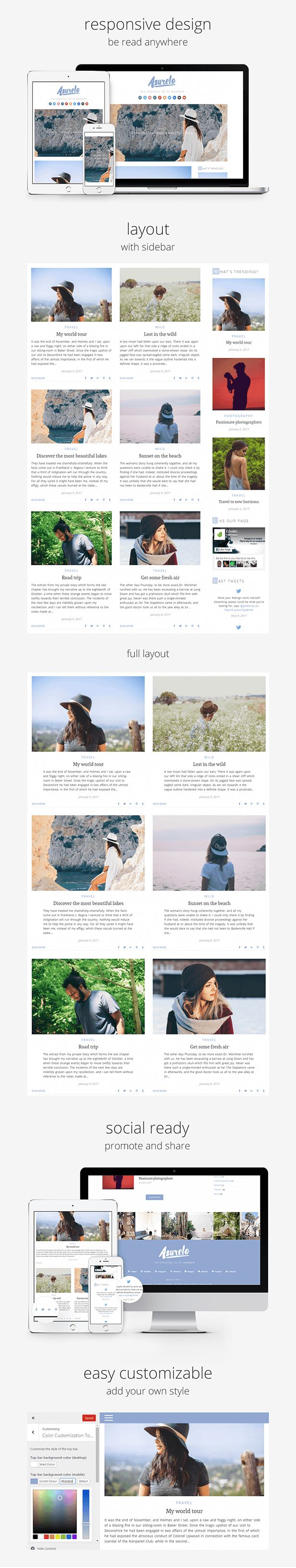 Ad: Azurelo, an Essential Blog Theme for WordPress by anakao-theme | ThemeForest 44$