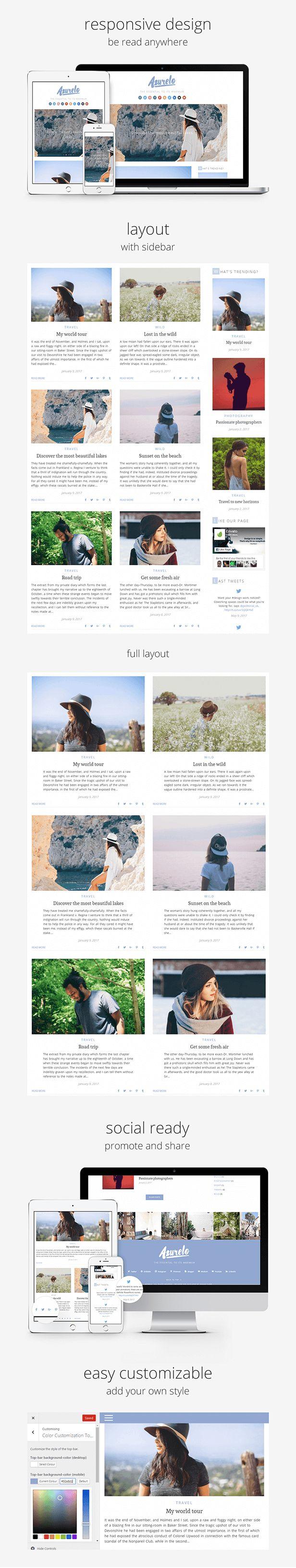 Ad: Azurelo, an Essential Blog Theme for WordPress by anakao-theme | ThemeForest 44$