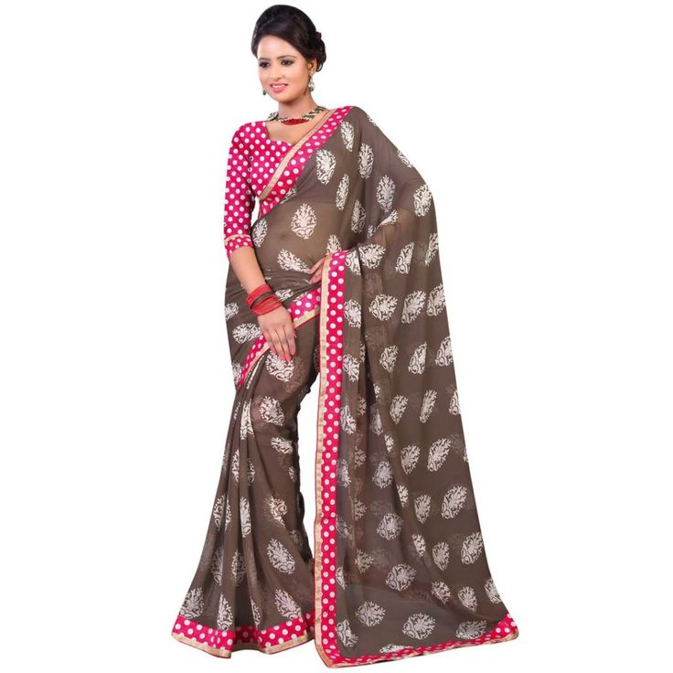 #TRIVENI  #FASHIONABLE FAUX #GORGETTE #SAREE only at Rs.1,229