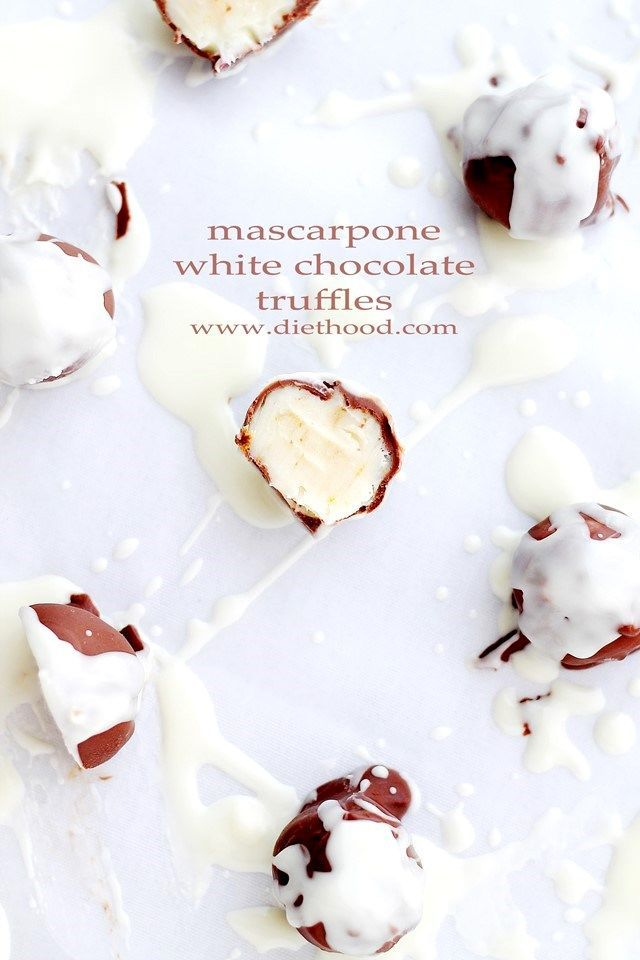 Mascarpone White Chocolate Truffles | | Sweet and creamy truffles made with a silky mixture of white chocolate and mascarpone cheese.