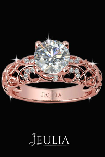 Rose Gold Vines Round Cut Women S Engagement Ring Jeulia