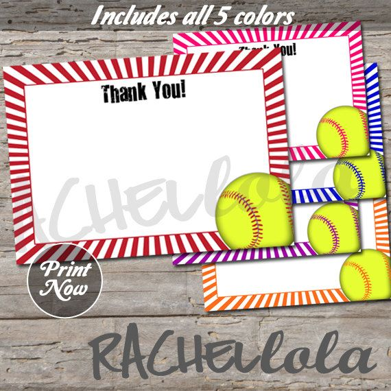 Softball Thank You Notes 5x7 Birthday Instant Download Softball Birthday Parties Printable Cards Thank You Notes