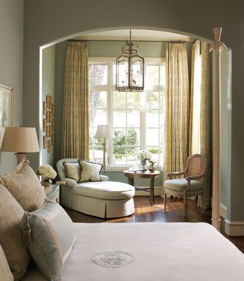 Pinterest #nebbsie - The reading & sitting nook next to the window. I would make this able to be closed off from the bedroom so on wknds it's dark enough to sleep in... I love the touches of gold in this French master bedroom.