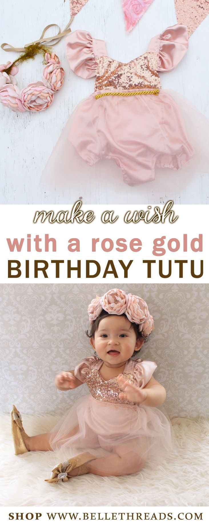 Make a Wish on your little one's birthday with your girl in a rose gold birthday tutu. Handmade by Belle Threads, it's a must have for girl birthdays or celebrations. Features a beautiful Full Tutu with sequin bodice and satin flutter sleeves. The sequin top is a halter. Shop www.bellethreads.com #birthdayparty #rosegold #babygirldress #birthdaygirl #tutu #tutudresses