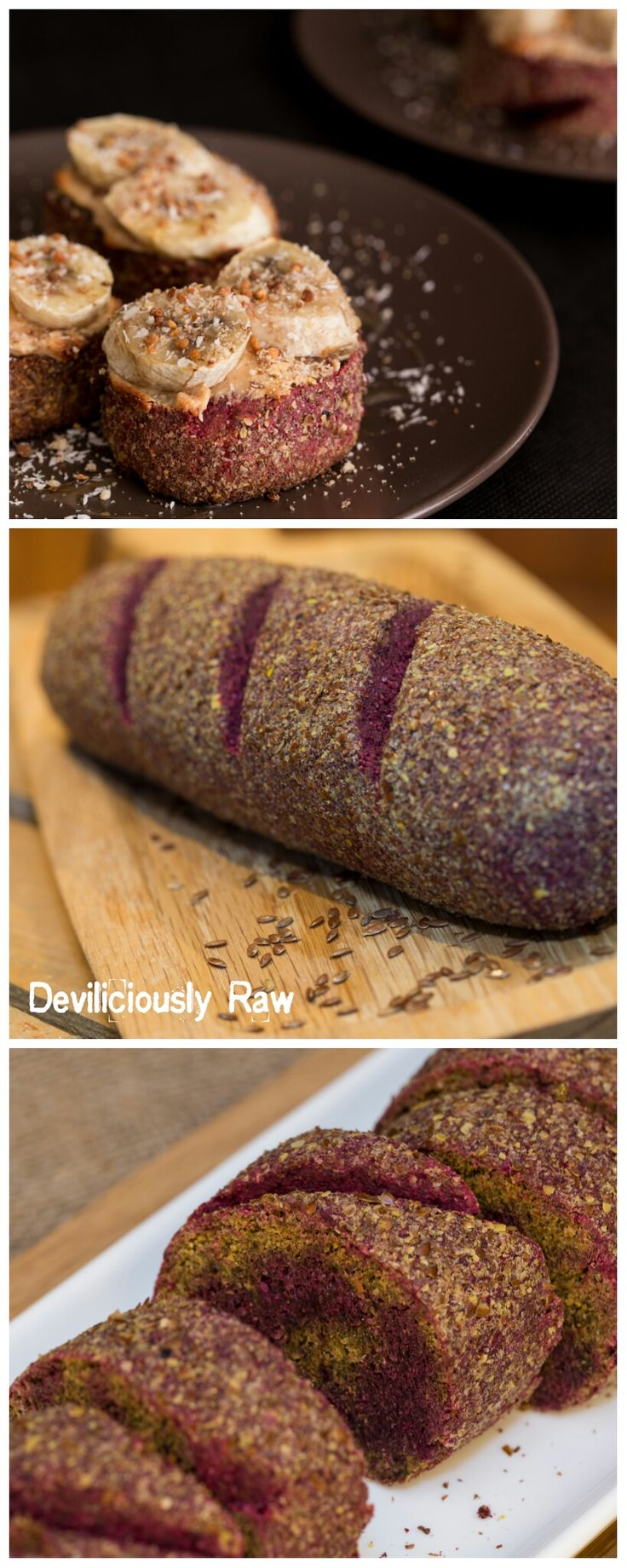 Raw Vegan Beetroot Bread Roll by Deviliciously Raw. The bread has a wonderful slightly nutty taste, crunchy on the outside, soft on the inside with a delightful flavour that is gluten-free and oil-free as well!  Full of healthy goodness, and smells like happiness, what more can you ask of a raw bread. A good alternative to bread for sandwiches.