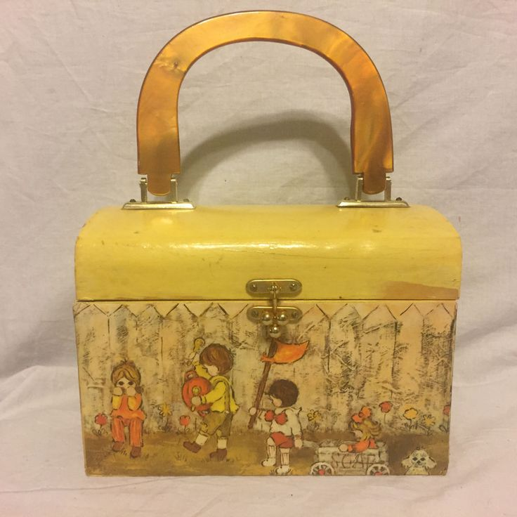 Cute wooden purse with Lucite handle. I believe the picture on it was made by Candi, a 1970's artist of cute girly stuff but it is not signed. | eBay!
